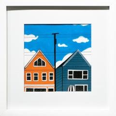 """""""Neighbors"""", Figurative Painting, Architecture, Houses, Blue, White, Orange"""