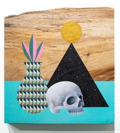 """Mementos"", Still Life Painting, Figurative, Acrylic on Wood, Blue, Black, Pink"