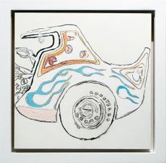 """Tell Your Ride"", Line Drawing, Car, Acrylic, Graphite, Color Marker"