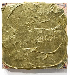"""Limerence"", Metallic Wall-Hanging Artwork, Gold-Colored, Gilded, Abstract"