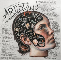 """Your Guide to an Artist's Mind"", Watercolor Painting, Figurative, Text"