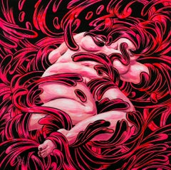 """""""Malignant"""", Abstract Painting, Pink and Black, Gouache and Ink on Wood"""