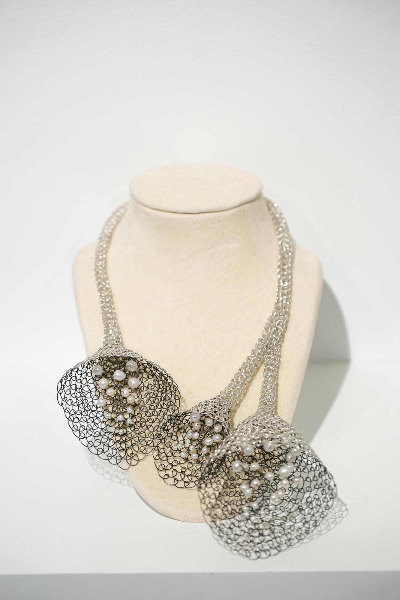 """""""Begin to Bloom"""" Necklace, handmade sterling silver wire with freshwater pearls"""