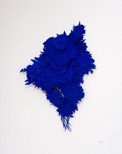 """""""Explosion #11"""", Cobalt Blue, Cut Paper Sculpture, Floral, Flower"""