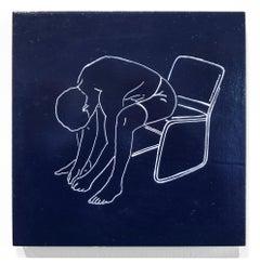 """Circulation"", Figurative Painting, Minimalist, Line Work, Navy, Dark Blue"