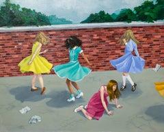 """Twirlers"", Figurative Oil Painting on Panel"
