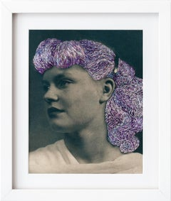"""Nice hair"", Surrealism Purple Embroidery On Cyanotype, Mixed Media Portrait"