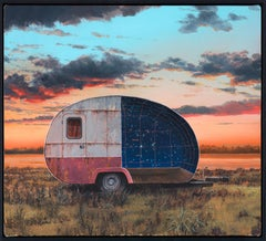 """Perseus"", Celestial Oil Painting, Constellation, Camper in Landscape, Astronomy"