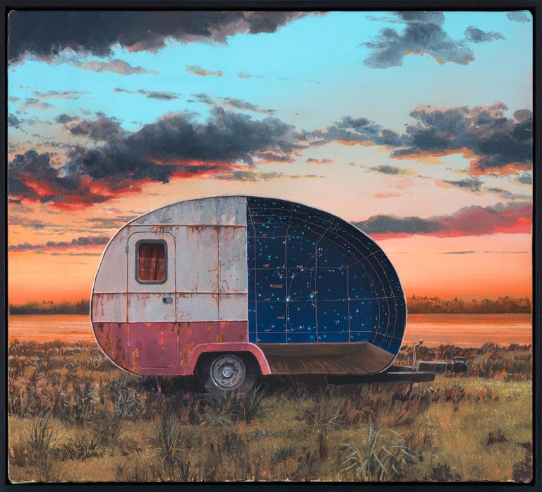 "Andrew McIntosh Landscape Painting - ""Perseus"", Celestial Oil Painting, Constellation, Camper in Landscape, Astronomy"