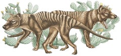 Thylacines with Prickly Pear Cacti