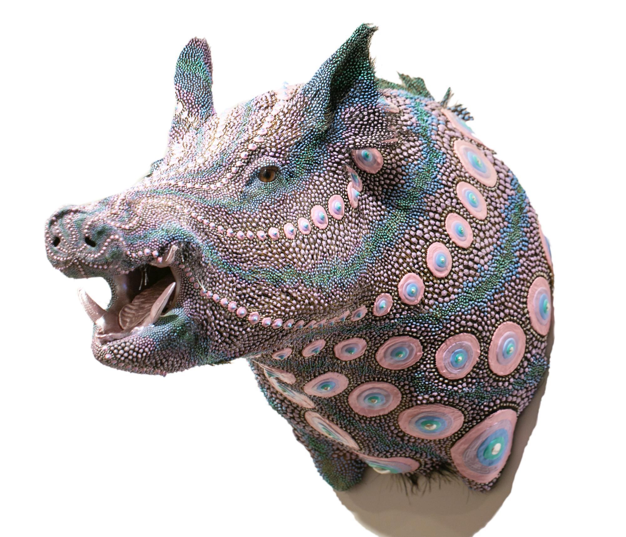 """Wedding Boar"", Taxidermy, Sculpture, Dimensional Paint, Puff Paint, Dot Pattern"