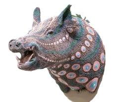 """Wedding Boar"", Taxidermy, Sculpture, Dimensional Paint, Puff Paint, Dot Pattern"