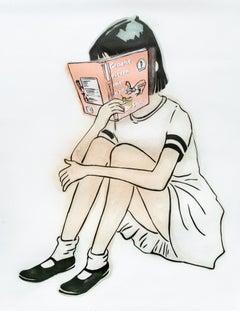 """""""Groen Eieren Met Ham - Dr. Seuss"""", Girl Reading Green Eggs and Ham Stencil"""