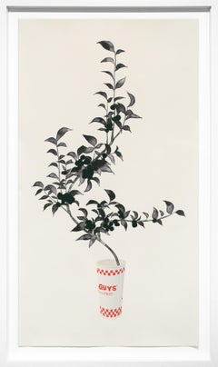 """Guys and Fries"", Lithograph Print, Fast Food Cup and Floral Plant"