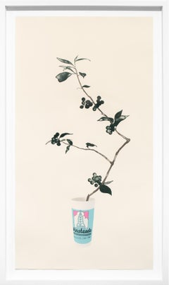 """""""Winstead's"""", Floral, Fast Food Container, Lithograph, Beige, Grey, Blue, Pink"""
