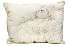 """""""Sleep Series III"""", Embroidered Figurative Pillow, Wall-Hanging Sculpture"""