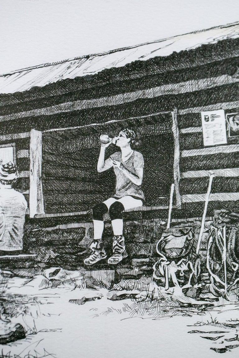 Pine Knob Shelter, Maryland, [ 39.54249, -77.60181 ] - Gray Figurative Art by Sarah Kaizar