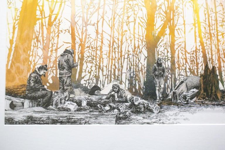 Ridgeline camp, North Carolina - Beige Landscape Art by Sarah Kaizar