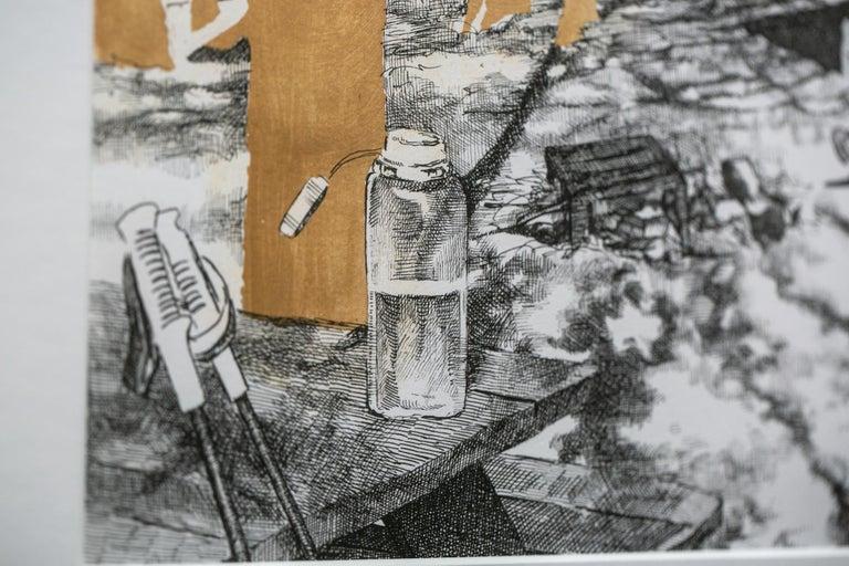Knob Maul Shelter, Virginia, [ 37.0008, -8140446 ] - Gray Figurative Art by Sarah Kaizar