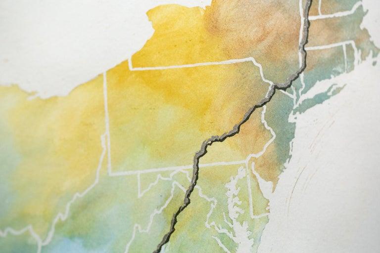 Appalachian Trail Map - Gray Figurative Art by Sarah Kaizar
