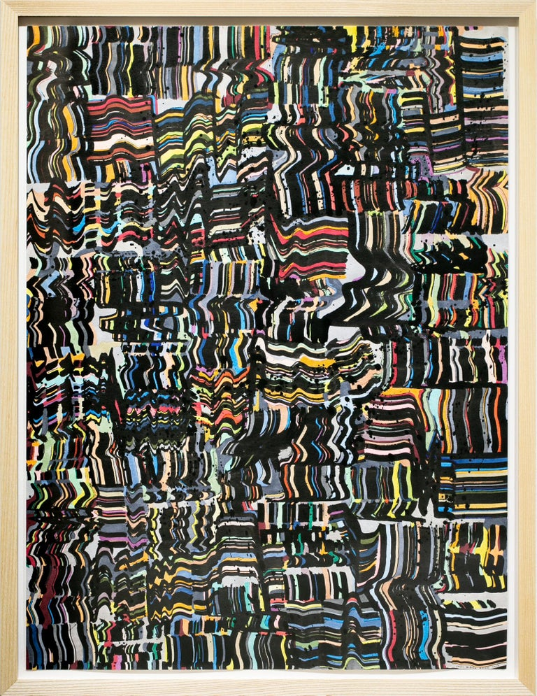 """Jason Andrew Turner Abstract Painting - """"Wait Wait Wait"""", Abstract Grid Painting with Wavy Textured Pattern"""