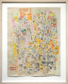 """Fairmount Route 3"", Abstract Colorful Cityscape Drawing"