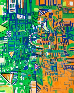"""Green and Orange Map"", Abstract Painting, Cityscape"