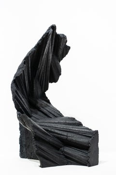 """""""Intrinsic"""", Abstract, Black, Sculpture, Textured, Concrete, Free-Standing"""