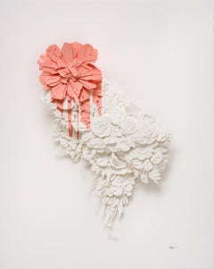 """""""Bleed in Pink"""", Layered, Cut Paper, Pink, Floral, Flower, Sculpture"""