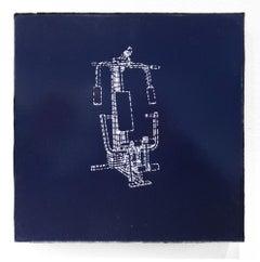 """Permanent Change"", Figurative Painting, Minimalist, Line Work, Navy, Dark Blue"