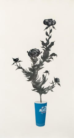 """Blizz"" Unframed, Lithograph, Floral, Fast Food Cup, Plant, Print"