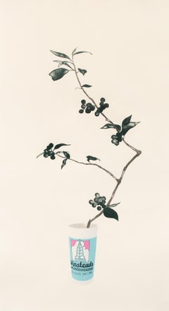 """""""Winstead's"""" Unframed, Lithograph Print, Floral, Plant, Fast Food Cup"""
