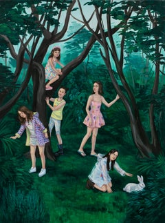 """""""Search For The White Rabbit"""", Figurative Oil Painting of Children in Forrest"""