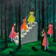 """The Stairway"", Figurative Oil Painting, Dresses, Woods, Nature, Pink, Green"