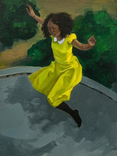 """""""Trampoline No.2"""", Figurative Oil Painting on Panel"""
