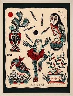 """Liber Mystia XLI"", Figurative Illustrative Drawing, Animals, Tattoos, Nature"