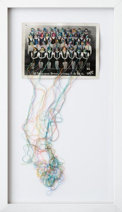 """Common threads 2"", Hand-Embroidered Vintage Photograph, Colorful, Surrealism"