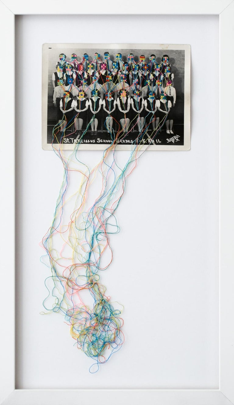 """""""Common threads 2"""", Hand-Embroidered Vintage Photograph, Colorful, Surrealism - Mixed Media Art by Han Cao"""