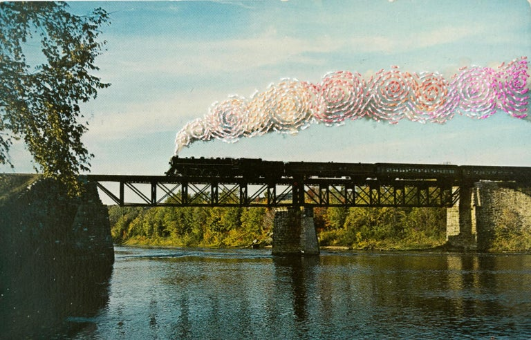 "Han Cao Landscape Art - ""Runaway Train"", Surreal Hand-Embroidered Vintage Postcard, Transportation"