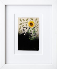 """The sunflower field"", Floral Hand-Embroidered Surreal Vintage Photograph"