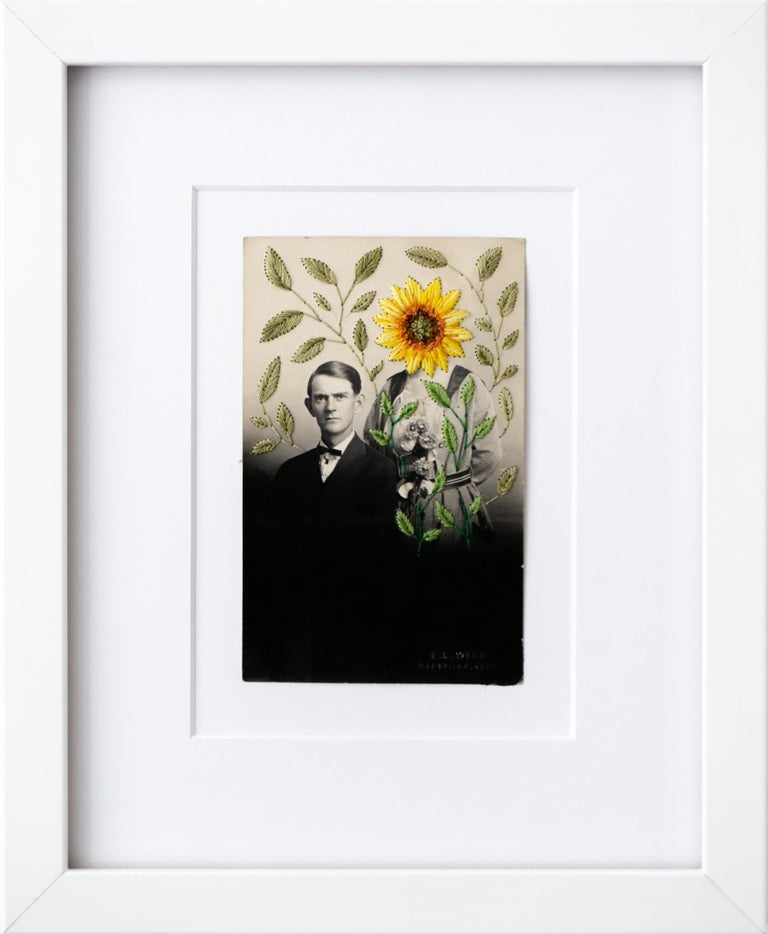 """""""The sunflower field"""", Floral Hand-Embroidered Surreal Vintage Photograph - Mixed Media Art by Han Cao"""