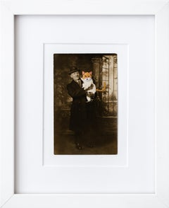 """Cat Baby With Father"", Hand-Embroidered Vintage Photograph"