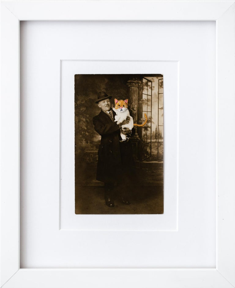 """Han Cao Figurative Print - """"Cat Baby With Father"""", Hand-Embroidered Vintage Photograph"""