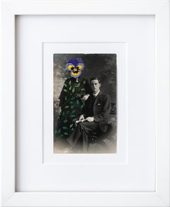 """Wallflowers: Shrinking violet"", Surreal Embroidered Flower on Vintage Photo"