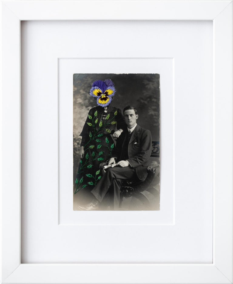 """""""Wallflowers: Shrinking violet"""", Surreal Embroidered Flower on Vintage Photo - Mixed Media Art by Han Cao"""