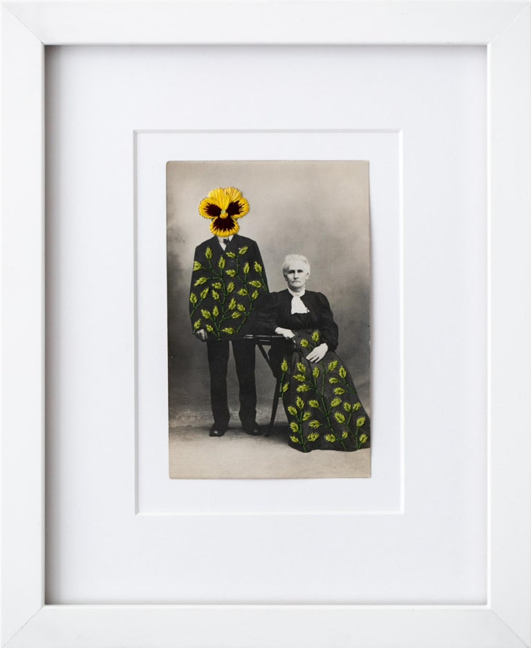 """""""Wallflowers: Yellow pansy"""", Floral Motif Surreal Hand-Embroidered Photograph - Mixed Media Art by Han Cao"""