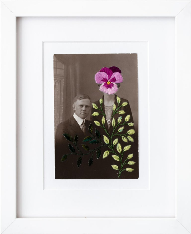 "Han Cao Figurative Print - ""Wallflowers: Purple pansy"", Floral Hand-Embroidered Vintage Photograph"