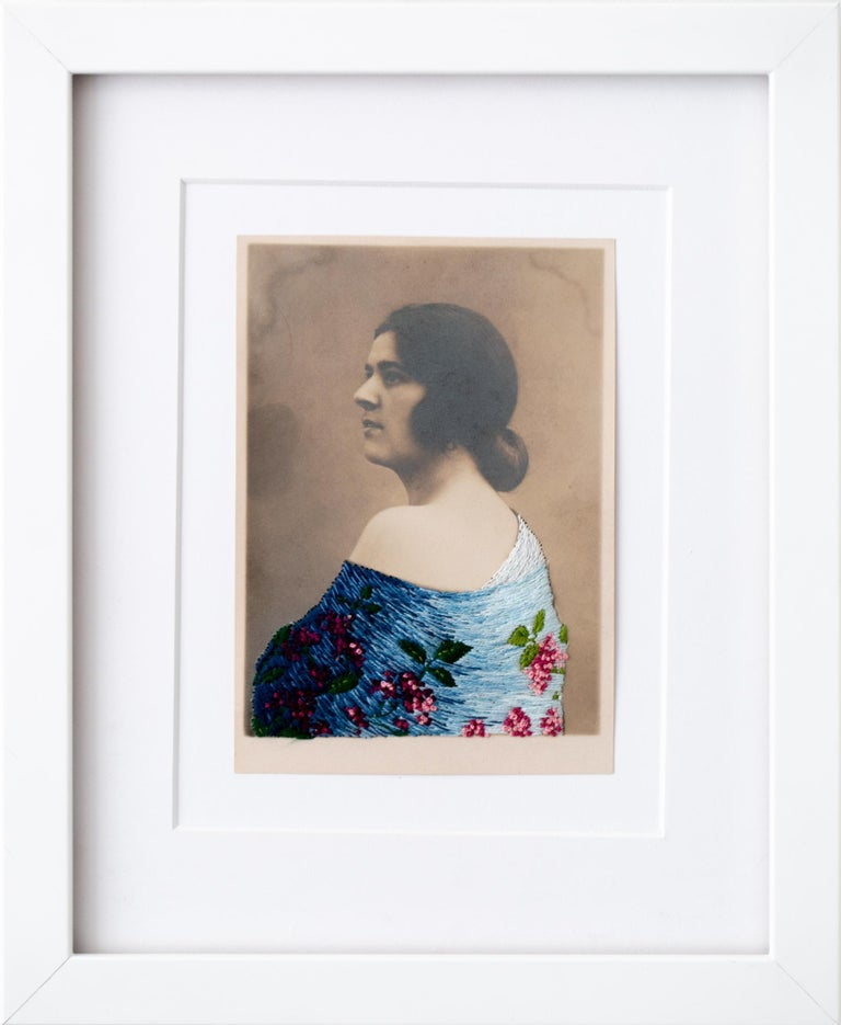 """""""The shawl"""", Floral Hand-Embroidered Vintage Photograph, Portrait, Figurative - Mixed Media Art by Han Cao"""