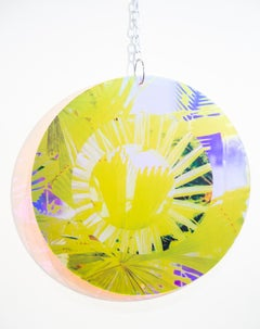 """Circle III"", Abstract Wall-Hanging Sculpture, Colorful Suspended Sculpture"