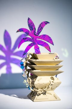 """""""Aged Artifact with Date Palm, Tiny Flower, and Adorning Links"""" Ceramic Vessel"""